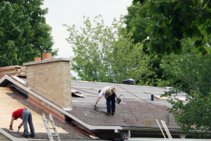 A new roof being installed by a professional roof contractor.